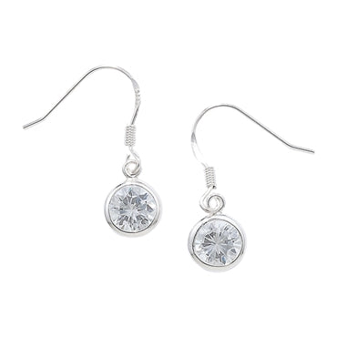 SILVER ROUND CUBIC ZIRCONIA DROP EARRING