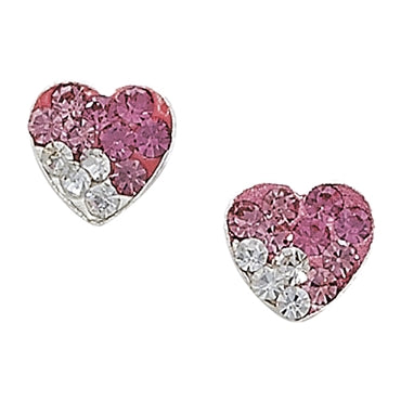 SILVER CRYSTAL PINK & WHITE HEART STUDS