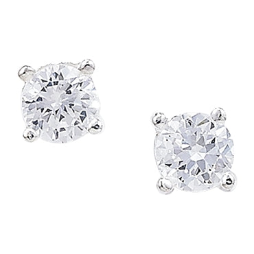 SILVER CUBIC ZIRCONIA 5MM CLAW SET STUD EARRINGS