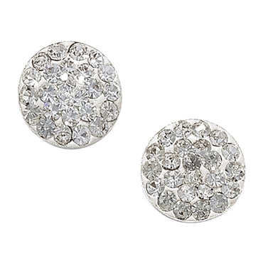 SILVER CRYSTAL ROUND FLAT STUDS