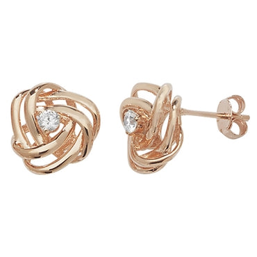 ROSE GOLD VERMEIL CUBIC ZIRCONIA SET WOOLMARK STUD EARRINGS
