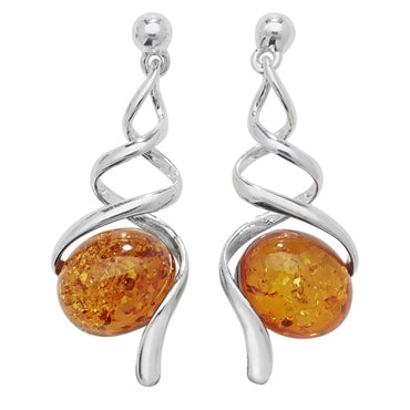 SILVER & AMBER TWIST DROP EARRINGS