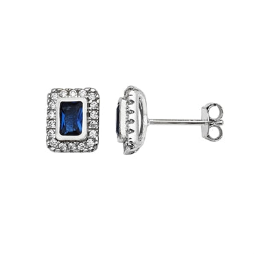 SILVER RECTANGULAR BLUE CUBIC ZIRCONIA HALO STUDS