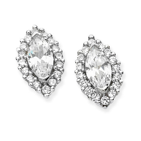 SILVER MARQUISE SHAPED CUBIC ZIRCONIA HALO STUDS