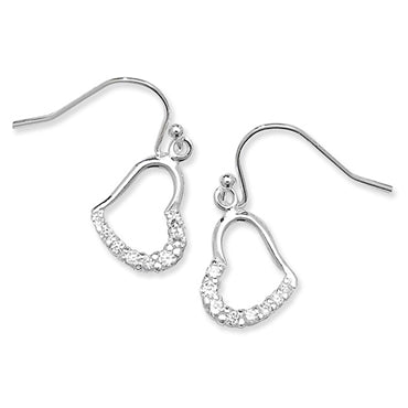 SILVER CUBIC ZIRCONIA DROP HEART EARRINGS
