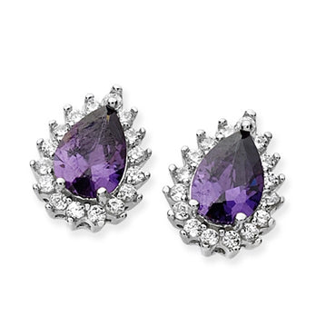 SILVER PURPLE CUBIC ZIRCONIA PEAR SHAPE HALO STUD EARRINGS