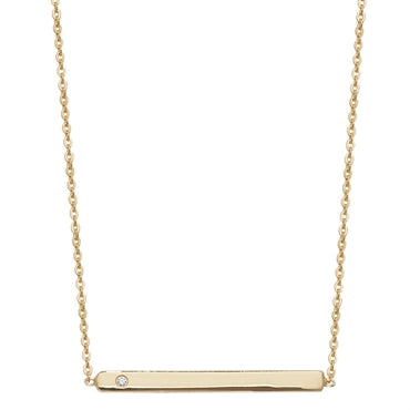 GOLD VERMEIL CUBIC ZIRCONIA SET BAR NECKLACE