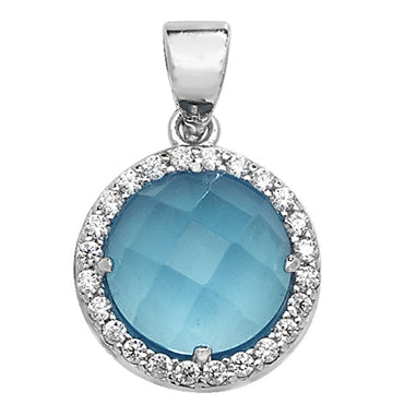 SILVER, BLUE CRYSTAL AND CUBIC ZIRCONIA PENDANT