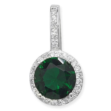 SILVER CLEAR & GREEN CUBIC ZIRCONIA PENDANT