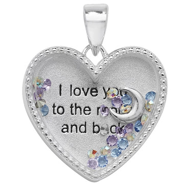 SILVER CUBIC ZIRCONIA SET HEART 'I LOVE YOU TO THE MOON AND BACK' LOCKET WITH MULTI PASTEL CUBIC ZIRCONIA STONES