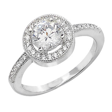 RHODIUM PLATED SILVER CUBIC ZIRCONIA ROUND HALO RING