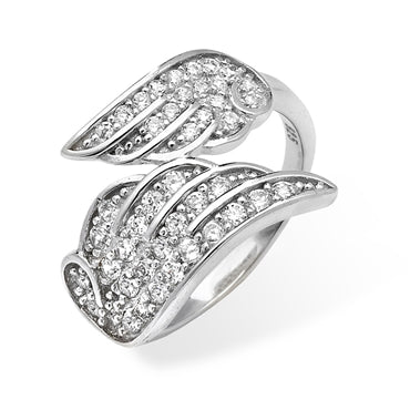 SILVER CUBIC ZIRCONIA SET DOUBLE ANGEL WING RING