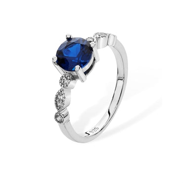 RHODIUM PLATED SILVER SYNTHETIC SAPPHIRE & CUBIC ZIRCONIA RING