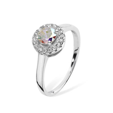 SILVER RAINBOW ZIRCONIA ROUND HALO RING