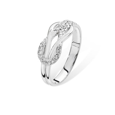 SILVER CUBIC ZIRCONIA SET REEF KNOT RING