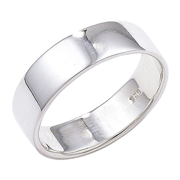 SILVER 8MM WIDE FLAT WEDDING BAND