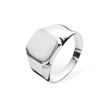 SILVER PLAIN SQUARE SIGNET RING