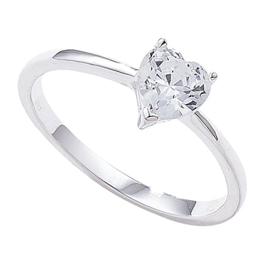 SILVER HEART CUBIC ZIRCONIA RING