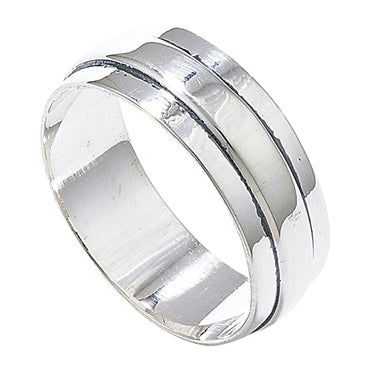 SILVER RIDGED 8MM BAND