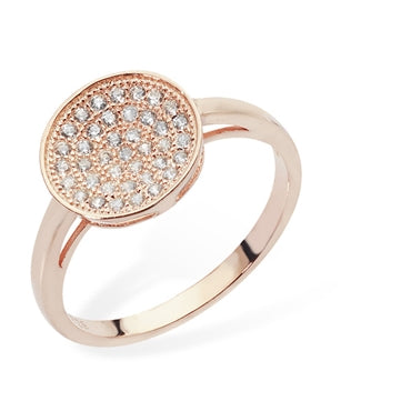 ROSE GOLD VERMEIL ROUND MICRO PAVE CUBIC ZIRCONIA RING