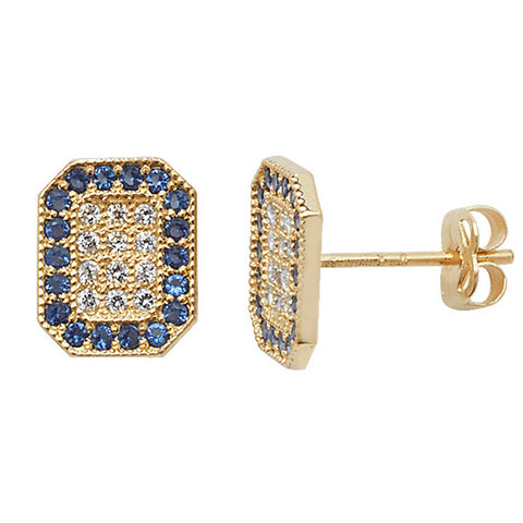 9CT GOLD BLUE & WHITE CUBIC ZIRCONIA FLAT STUD EARRINGS