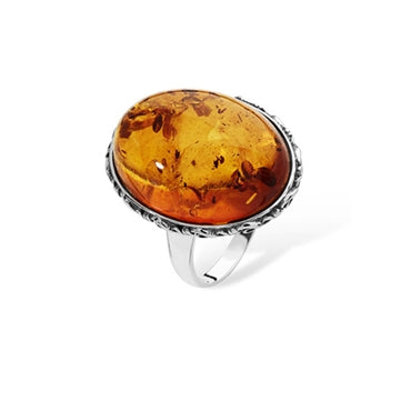 SILVER VICTORIAN STYLE AMBER RING