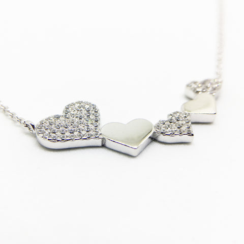 SILVER CUBIC ZIRCONIA HEARTS NECKLACE