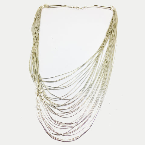 SILVER MULTI-STRAND LIQUID NECKLACE