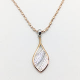 ROSE GOLD VERMEIL CUBIC ZIRCONIA SET LEAF PENDANT/ EARRINGS