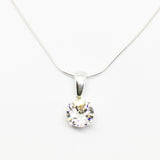 SILVER 8MM ROUND CUBIC ZIRCONIA BASKET PENDANT (SIX COLOURS AVAILABLE)