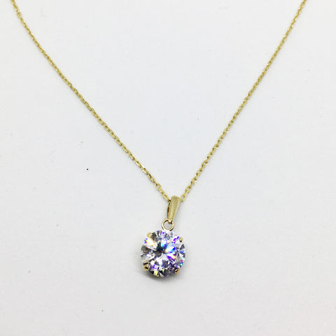 9CT GOLD CUBIC ZIRCONIA BASKET PENDANT