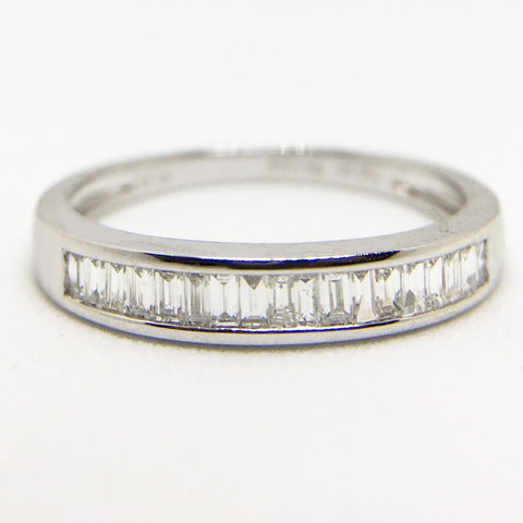 18CT WHITE GOLD .25CT DIAMOND BAGUETTE 1/2 ETERNITY RING