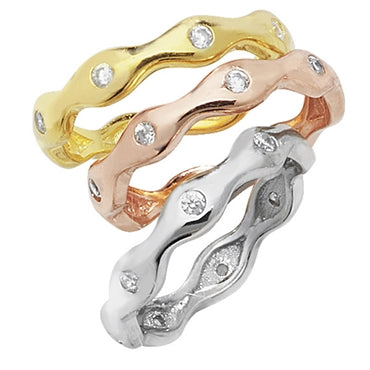 SILVER VERMEIL 3-COLOUR WAVY CUBIC ZIRCONIA SET STACKING RINGS