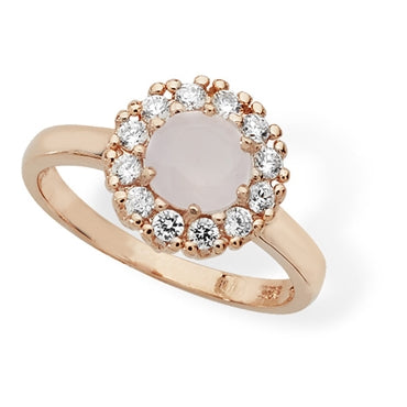 ROSE GOLD VERMEIL PINK AND WHITE CUBIC ZIRCONIA RING