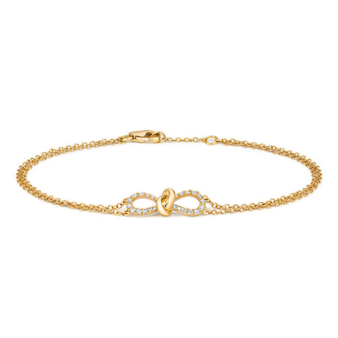 18CT GOLD .19CT DIAMOND BOW BRACELET