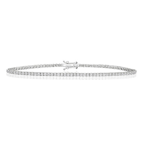 18CT WHITE GOLD 1CT DIAMOND TENNIS BRACELET