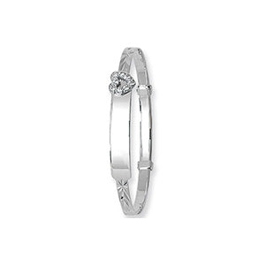 SILVER BABIES CUBIC ZIRCONIA HEART IDENTITY BANGLE