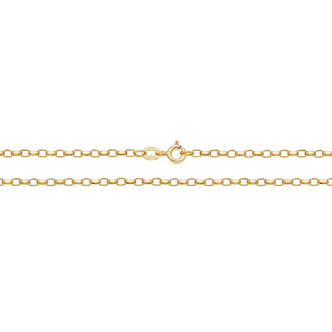 9CT GOLD FACETED OVAL BELCHER CHAIN