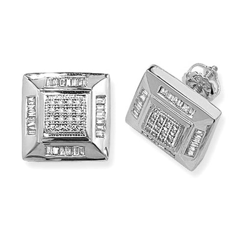 9CT WHITE GOLD SQUARE STUDS WITH ROUND & BAGUETTE DIAMONDS