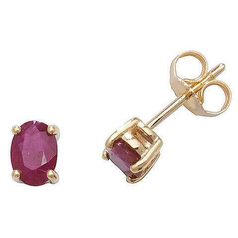 9CT GOLD OVAL CLAW SET RUBY STUDS