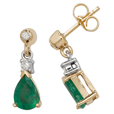 9CT GOLD PEAR CUT EMERALD & DIAMOND DROP EARRINGS
