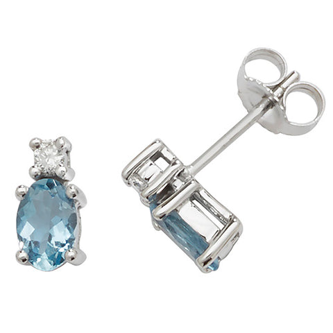 9CT WHITE GOLD OVAL CUT AQUAMARINE AND DIAMOND STUDS