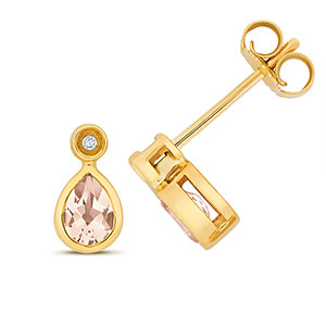 9CT GOLD MORGANITE & DIAMOND STUD EARRINGS