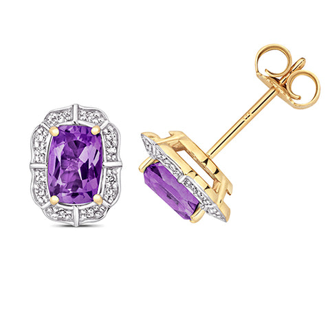 9CT GOLD CUSHION CUT AMETHYST & DIAMOND STUDS