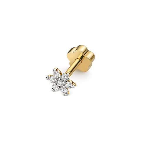 9CT GOLD DIAMOND FLOWER CARTILAGE STUD