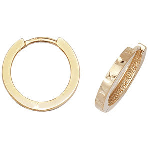 9CT GOLD DIAMOND CUT HINGED HOOP EARRINGS