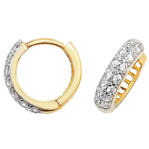 9CT GOLD HINGED CUBIC ZIRCONIA HUGGIES