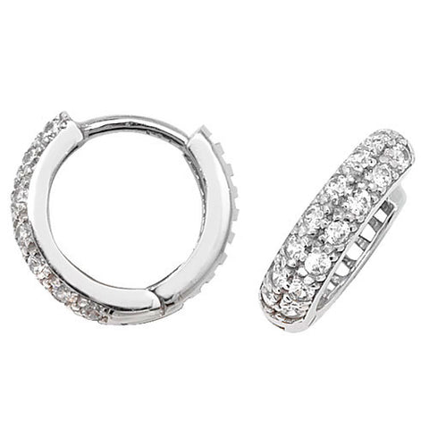 9CT WHITE GOLD HINGED CUBIC ZIRCONIA HUGGIES