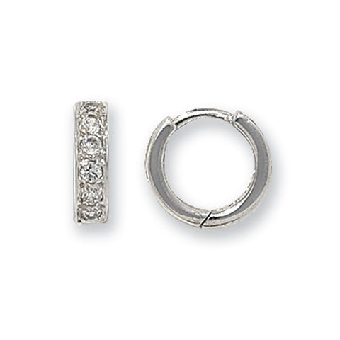 9CT WHITE GOLD CUBIC ZIRCONIA SET HINGED HUGGIE EARRINGS