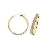 9CT YELLOW & WHITE GOLD FROSTED HOOP EARRINGS